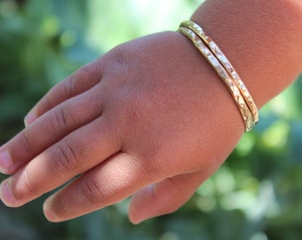 Baby Bangle Bracelet, Toddler Bangle Bracelet, Thin Hand Forged Brass, Custom Baby Bracelet, Personalized Baby Bracelet