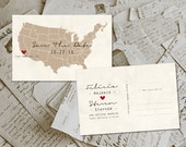 """Wedding Save The Date Cards - USA Map Modern Rustic Personalized 4""""x6"""""""