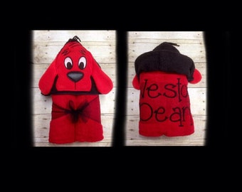 Clifford the Big Red Dog Hooded Towel/ Clifford Birthday/ Infant Costume/ Baby Hooded Towel/ Pool Party/ Beach Towels/ Pool Towel/ 3D Towel