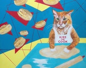 "Kitty Cat Chef Painting, ""Makin' Biscuits,"" Blank-inside Greeting Card, Kitty Print"