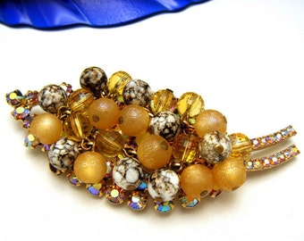 Vintage D&E Juliana Leaf Brooch Stunning Golden Rhinestones Speckled Beads