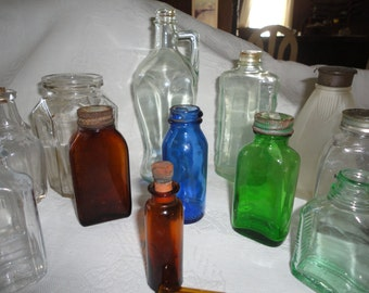Vintage Glass Bottle Apothecary Collectible Prescription Medicine 14 Assorted