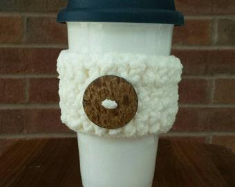 Handmade Crochet White Coffee Cozy with Coconut Button, Tea Cozy, Cup Cozy, Cup Cozies