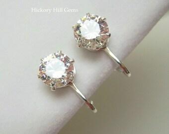 Clip-on Earrings Large CZ SWAROVSKI ZIRCONIA 8mm cubic zirconia clip on earrings, 2 Carat Diamond look ea. clip-on earring, clear gemstone
