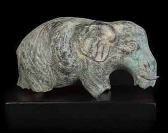 "Museum Piece Cambodian Verdigris Bronze Abstract Elephant Statue - 21cm/8.5"""