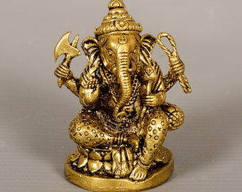 """Ganesha Statue - Southeast Asia Thailand Brass Seated Ganesh - Remover of Obstacles - 2"""" Tall"""