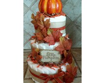 3-Tier Brown & Orange Little Pumpkin Fall Diaper Cake for Baby Shower Gift or Centerpiece