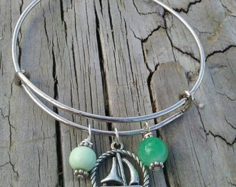 Sailboat charm bracelet, adjustable bangle, beach charm bracelet, nautical charm bracelet