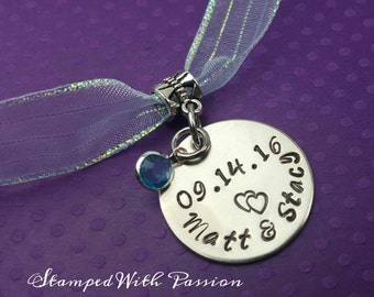 Something Blue -Personalized Bridal Bouquet Hand Stamped Charm - Wedding Date with Couple names