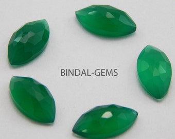 10 Pieces Beautiful Wholesale Lot Green Onyx Marquise Rose Cut Gemstone For Jewelry