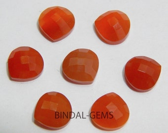 Wholesale Lot 10 Pieces Amazing Red Onyx Heart Shape Checker Cut Gemstone For Jewelry