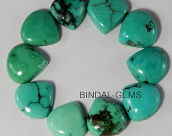 15 Pieces Lot Natural Turquoise Heart Shape Loose Gemstone Flatback Cabochon