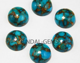 15 Pieces Blue Copper Turquoise Round Shape Loose Smooth Polished Gemstone