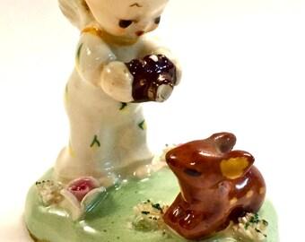 Vintage Ceramic Porcelain Itsy Bitsy Angel Vacationin' by Napco