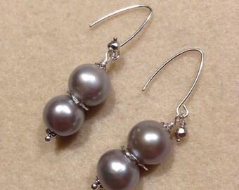 Large freshwater pearls earrings