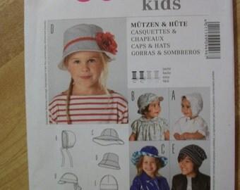 burda kids 9496 caps and  hats