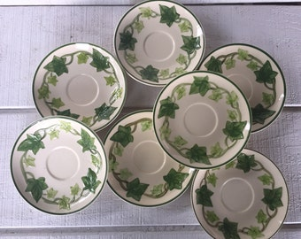 7 Franciscan Ivy, Ivy Saucers, Franciscan Pottery, Ivy Dishes, Ivy Saucers, California Pottery, Retro Dishes, Vintage Franciscan, Ivy Decor