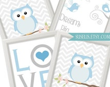 Set of 4 Dream big little one, Owl, Love, Birds Printable Nursery Wall Art Baby boy Printable Wall Art, playroom poster, kids wall decor