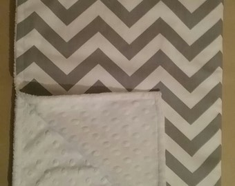 "26X 36"" Grey White Chevron Baby Blanket, White Bubble Dot Minky ."