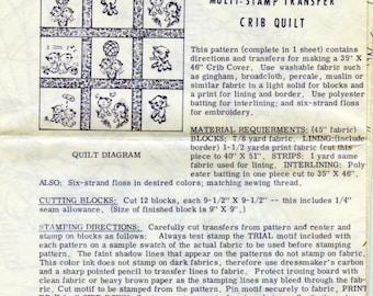 Vintage Kittens Multi Stamp Transfer Crib Quilt Pattern, Laura Wheeler 423, Embroidered Kittens Quilt, Original Vintage 1950's Quilt Pattern