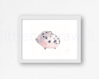Pig Print Cuddly Little Piglet Pig Watercolor Art Print Pink Piglet Piggy Animal Painting Art Print Living Room Wall Decor