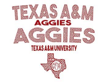 Texas A&M Aggies  Jersey set Retro print SVG  Eps Pdf PNG STUDIO