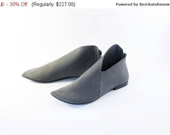 30% OFF Shoes women, Asymmetric shoes, Grey Leather women's shoes, Low ankle shoes,  Leather flat boots, Leather booti, Size 7 booties