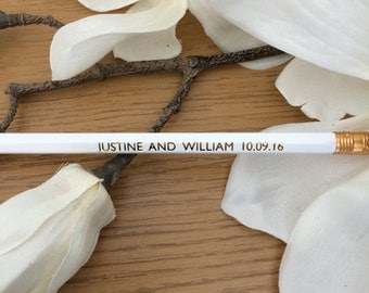 Bespoke save the date pencils | Customisable | Engagement and wedding announcements | White and gold | Other colours available! |  Set of 10