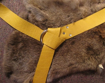 Yellow bull hide leather ring belt for medieval garb #642 series A-N