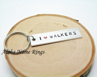 I (Heart) WALKERS  - A Zombie lover must have!! Custom Hand Stamped Aluminum Key Chain. Zombie Apocalypse