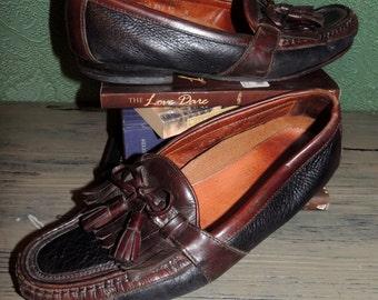 VS000012 Casual Johnston and Murphy Black antiqued Black Deer/Chestnut leather tassel Loafer MensSize 10 -By God Oddities Decor on Etsy