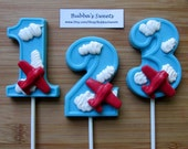 "Number ""AIRPLANE"" w/CLOUDS Chocolate Pops (12) - (1-9 Available!) AIRPLANE Birthday/Plane Favors"