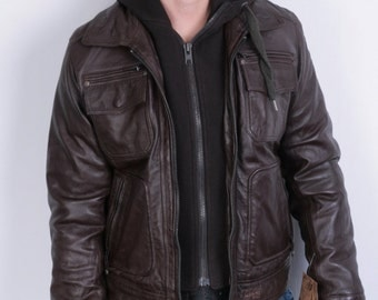 Schott N.Y.C. Mens M Leather Jacket Brown Hood Full Zipper Suede