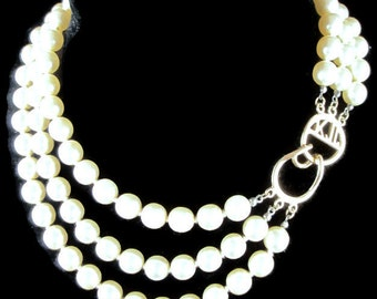 Vintage  Kenneth J Lane  3 row Multi Strand Hand Knotted Champagne Faux Pearl Necklace