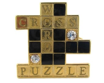 Vintage Novelty Crossword Puzzle Crystal Gold Tone Pin Brooch