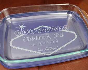 Personalized LAS VEGAS Wedding Gift -  Custom Etched Baking Dish - eloped, vegas baby, elvis wedding