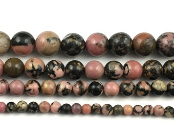 natural black striped rhodonite beads, round loose gemstone beads wholesale 4mm 6mm 8mm 10mm 12mm strand