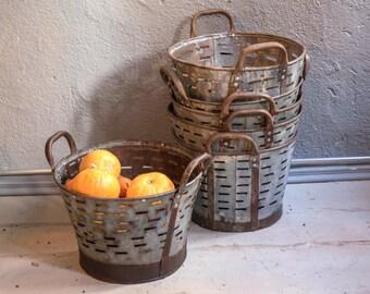 3 quantities of Small Rustic Metal Olive Bucket,Old Handmade bucket,Rustic Storage,Decorative Basket