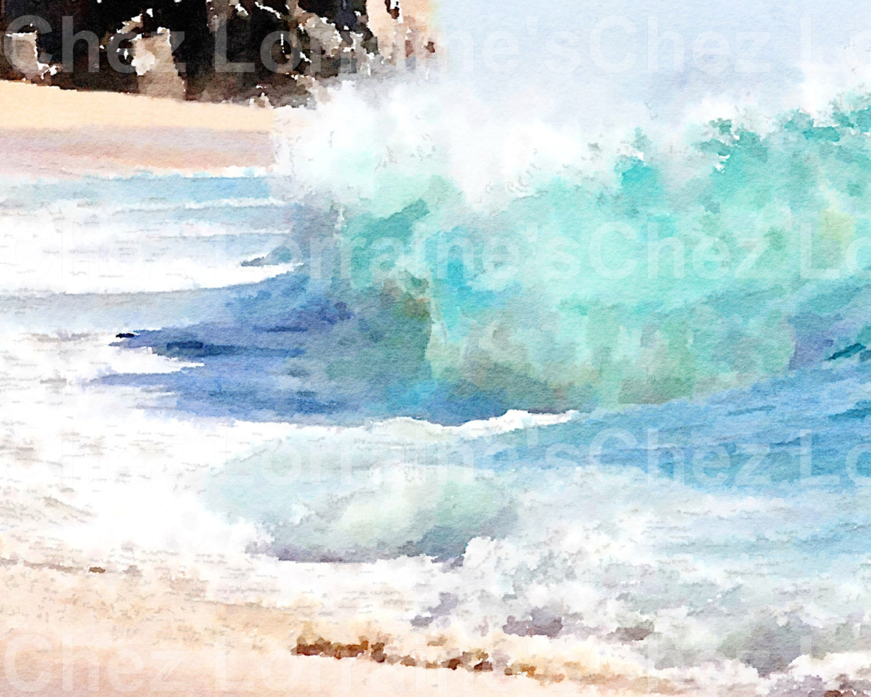 crash an ocean wave watercolor fine art print beach cottage home rh chezlorraines com