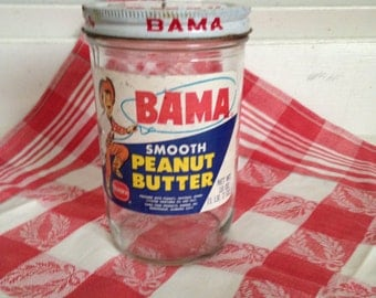 BAMA Creamy Smooth Peanut Butter Glass Jar and Lid 18 oz Jar Borden Product Made in Birmingham Alabama