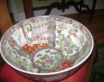 Large Vintage Large Chinese Export Rose Canton Porcelain Bowl 14' x 6'