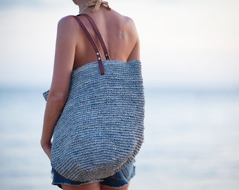 Grey Beach Bag, Vacation Bag, Resort Tote, Beach Bag