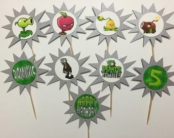 Plants vs Zombies Cupcake Toppers (birthday cupcake toppers)