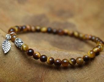 Tiger eye bracelet, Sterling bracelet, Tiger eye beads, Gemstone bracelet, Beaded bracelet, Dainty bracelet, Stretch bracelet, Gift for her