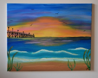Beach Sunset with Pier, canvas, painting, acrylic, handmade, gift, outdoors, 16x20 painting
