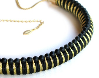 Contemporary Textile Beaded Rope Necklace