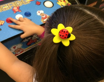 Hair elastic tie ladybug flower button