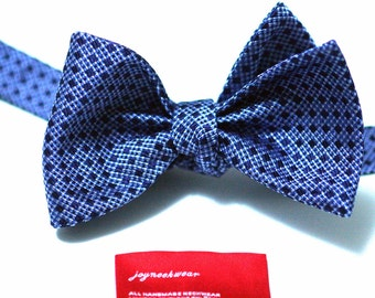 SELF TIED Bow Tie in Dots with Cornflower or Horizon Blue White and Navy