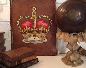 Crown Transfer on Old Leather Book Back | wall decor