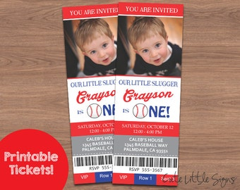Baseball Ticket Birthday Invitation Digital Download